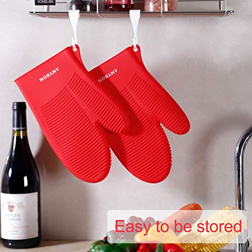 Silicone Oven Mitts, AMYHOM Superior Heat Resistance 446°F Food Grade Silicone Oven Gloves Professional Safe Pot Holders Kitchen Gloves for Cooking Oven BBQ Barbecue Baking, 2 Pack