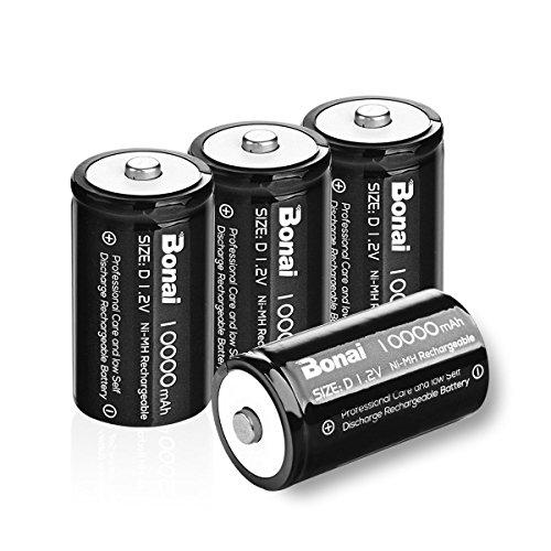 BONAI Ultra Pila Ricaricabile Stilo D 10000mAh, Batterie Ricaricabili HR20 Mono (Pre-caricate, 1200 cicli, 1.2 V, Ni-MH) 4 Pezz