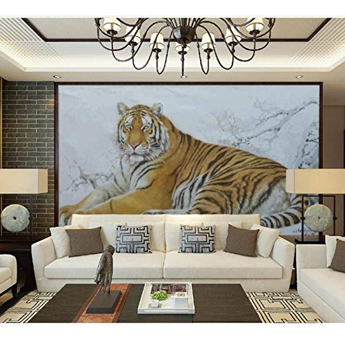 Modern behang voor woonkamer inkt tijger sneeuw muurschildering, 3D behang behang behang behang voor tv achtergrond 280 cm (B) x 180 cm (H) (9'2 ''x5'11'') ft