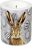 IHR Wunderschönes Windlicht Ostern OH My Rabbit, Kerze mit Hasenmotiv