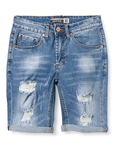 Inside 2CBE26 Pantalones Cortos de Jean, 20, 46 para Hombre