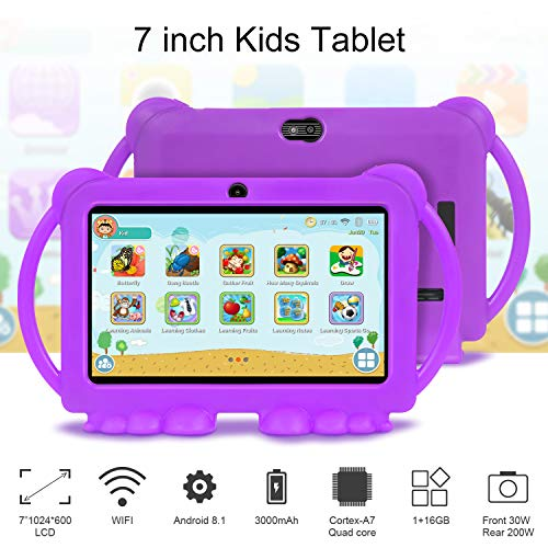 Xgody 7 Inch Kids Edition Tablet Quad Core Android 8.1 16GB ROM 1GB RAM Touch Screen with WiFi Pre-Loaded 3D Game Dual Camera Purple