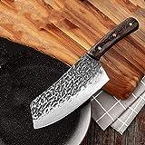 Cuchillo de cocina forjado a mano patrón de martillo estilo chino cortador de cocina 5CR15 acero inoxidable corte corte cortador cuchillo cuchillo cuchillo