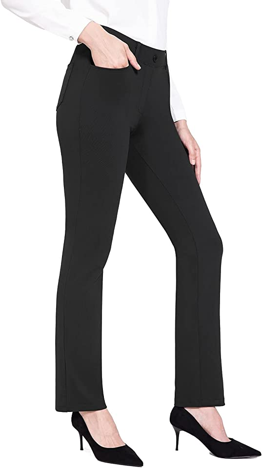Women's Dress Yoga Pants Straight Leg Pull-On Stretch Work Casual Business Trousers with Pockets