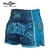 FLUORY Muay Thai, pantaloncini da boxe resistenti agli strappi MMA Fight Kick Abbigliamento per uomini donne e bambini arti marziali allenamento grappling., Blu scuro, XS