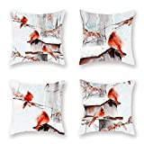 ShareJ Super Soft Throw Pillow Covers Watercolor Red Robin Bird Standing on The House Winter Snow Scene Home Decor Pillow Cases 18x18 Inch, Set of 4