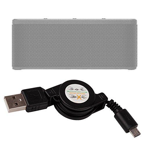 DURAGADGET Cable MicroUSB para Altavoz Portátil Oittm LOPOO/Omaker M6/Otone BluWall/Pictek inalámbricos/Bomber 20W/Plusinno Ultramobile/Q7S BT36W/Qilive Q.1385 -Retráctil