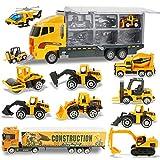 Joyfia Vehículo de construcción 11 en 1 fundido a presión, camión, coche, juguete, excavadora, juguete de construcción, furgoneta en camión, para niños y niñas de 3 años de edad