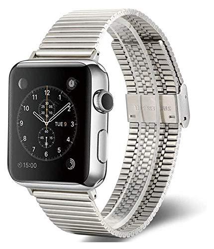 Bandas de metal compatibles con Apple Watch 38 mm 40 mm 42mm 44mm Correa de acero inoxidable de la correa de reemplazo de la banda de la pulsera Sport Soft transpirable para iWatch Series 6 / SE / 5/4