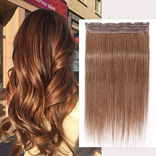 Extension Capelli Veri Clip Fascia Unica Remy Human Hair One Piece 1 Ciocca Naturali Umani Lisci - Lunag 45cm Pesa 50g #30 Marrone Medio