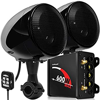 GoHawk TN4 2.1 Channel Amplifier 4  Full Range Waterproof Bluetooth Motorcycle Stereo Speakers Audio System AUX FM Radio for 1 to 1.25 in Handlebar Harley Yamaha Can-Am ATV UTV RZR Polaris