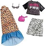Barbie Fashionistas Kit vêtements de voyage, 2 tenues pour poupée dont jupe, robe, top,et accesssoires, jouet pour enfant, FXJ65
