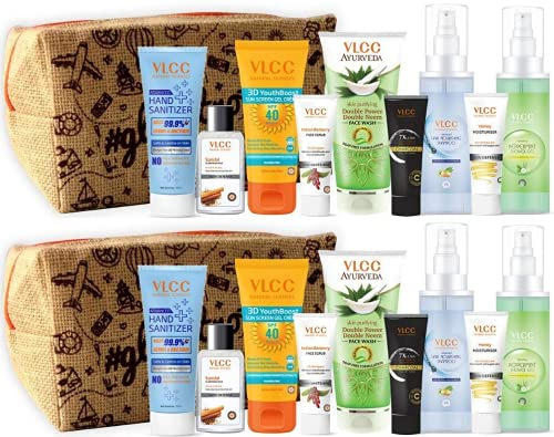 VLCC Refresh and Glow Kit with Pouch | skin Care, Hair Care, hygiene Essentials Combo for women | beauty combo set for women | VLCC beauty gift set | beauty sets | skin care combo - Pack of 2