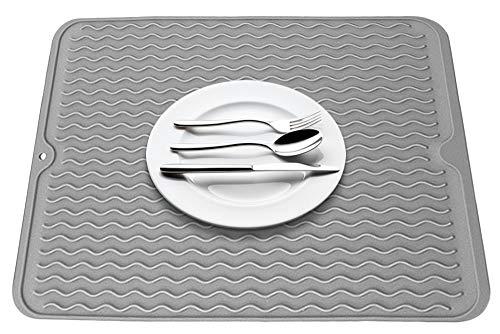 Gresunny escurreplatos de silicona estera de secado de platos antideslizantes resistente al calor almohadilla de drenaje tablero de drenaje para taza plato cocina encimera gris/negro 40 * 30cm