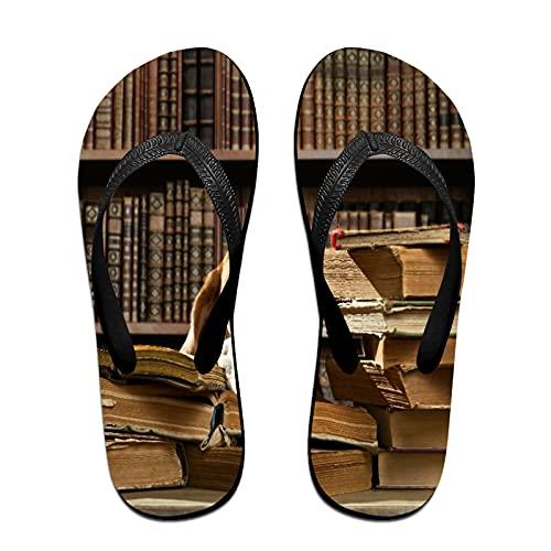 Sandalia fina unisex con chanclas,Perro muy inteligente piensa en la bibl, Yoga Mat chancletas de cuero cómodo Beach Tamaño de la correa con el peso ligero EVA Suela L