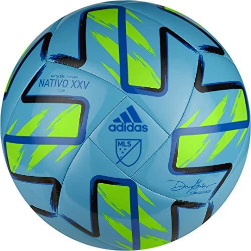 adidas MLS Nativo XXV Club Soccer Ball Samba Blue/Solar Green/Black/Glory Blue 4