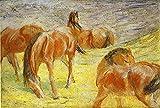 Cuadro en Lienzo Franz Marc Pastoreo de caballos Lienzos Decorativos xxl, Cuadros Decoracion Salon, Decoracion de Pared,Laminas para Cuadros (40x52cm 16 'x20', Sin Marco)