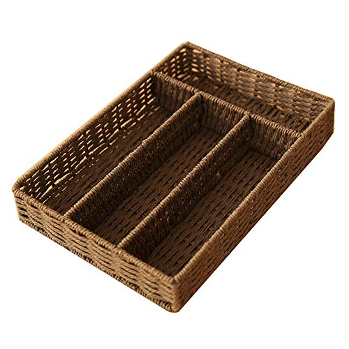 Kcakek Multi Grid Woven puin opbergdoos Desktop Office Dresser Coffee Table opbergdoos grote Opbergmanden Geweven wasmand met Woven Onder Bed Storage Box