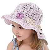 Snyemio Sombrero de Paja Niñas con Flores Verano Anti UV Solar para Viaje Playa Piscina 1-8 años