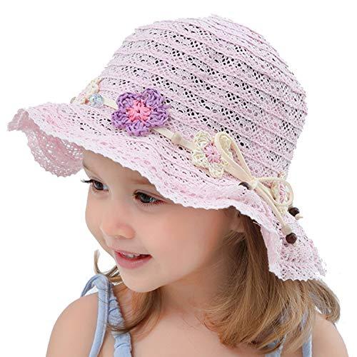 Snyemio Sombrero de Paja Niñas con Flores Verano Anti UV Solar para Viaje Playa Piscina 1-8 años (Rosa, 46cm)