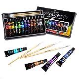 WINSONS Peinture Acrylique Professionnel, 12 Couleurs (12 x 12ml,0.4 Oz) Peinture Acrylique en Tube Pigments Riches pour Artiste Amateurs Enfants