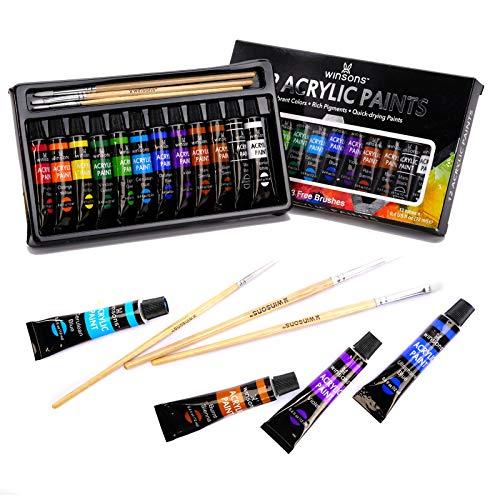 Juego de pintura acrílica WINSONS, no tóxica 12 colores (12 x 12ml,0.4 Oz) Pigmentos estupendos para niños principiantes, pintores, niños, estudiantes de escuelas y clases de arte esenciales