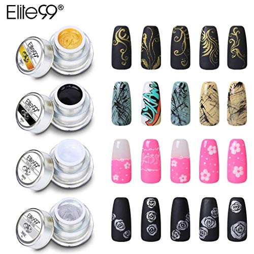 Elite99 Gel Nail Polish 3D Painting Nail Gel Soak Off UV LED 4PCS DIY Manicure Nail Art Decoration 8g