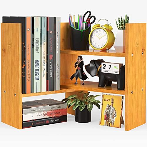 Pipishell - Scaffale da scrivania per scrivania, in bambù naturale, regolabile, facile da montare, scaffale per libri da banco, per ufficio, decorazione casa, cucina, ecc.