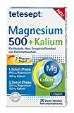 tetesept Magnesium 500 + Kalium – Nahrungsergänzungsmittel mit Magnesium für Muskeln, Herz & Nervensystem – 1 x 30 Tabletten