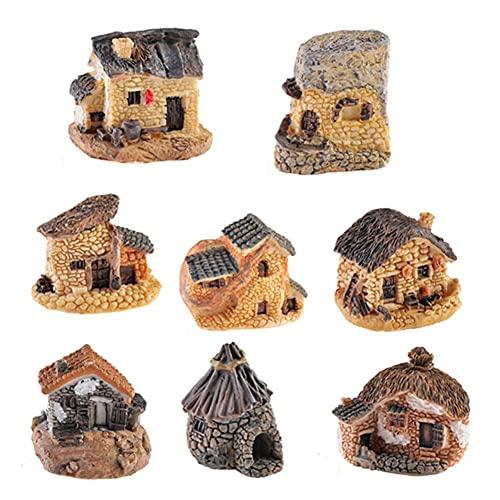 CYSJ Miniatura Hada del jardín Casas de Piedra 8pcs Casa de Hadas para Jardín Mini Cottage Casa Decor miniaturas Accesorios Jardinería Decoración Accesorios para casa de muñecas