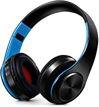 Bluetooth Headphones Over Ear, Hi-Fi Stereo Wireless Headphones with Mic and Volume Control, Foldable Headset Support Wired Mode and SD/TF Card for Travel Work Cell Phones PC TV