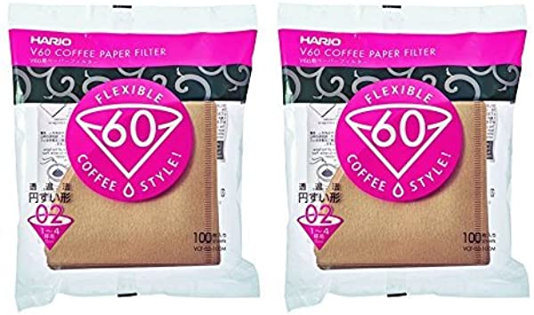 Hario V60 Disposable Paper Coffee Filters Tabbed Natural 200 Count