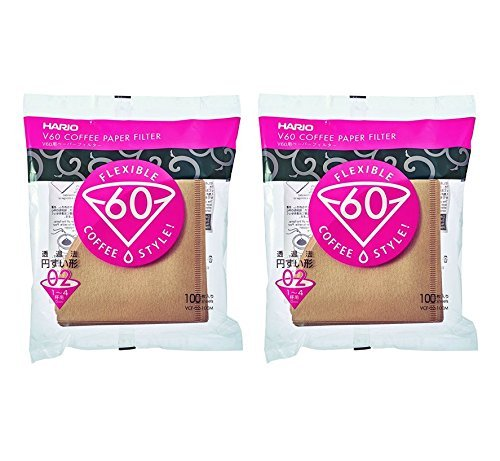 Hario V60 Paper Coffee Filters, Size 02, Natural, Tabbed, 200 Count