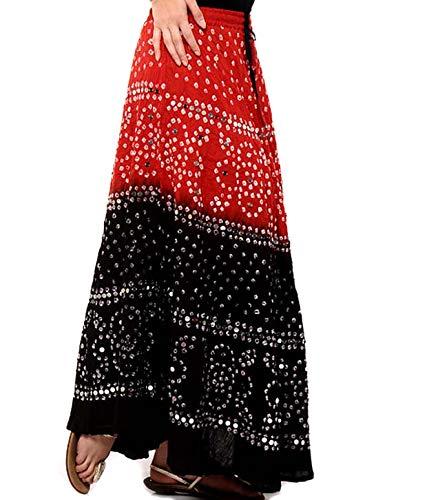 Rastogi Handicrafts Multi Color Skirt for Women Girls Indian Tradition Style Skirts (Black & Red)