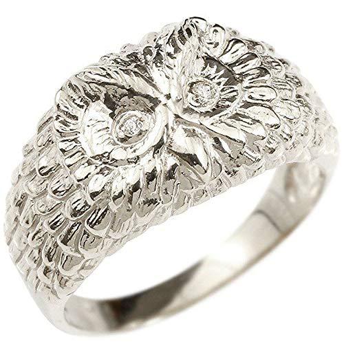 [アトラス]Atrus リング レディース 婚約指輪 sv925 スターリングシルバー ダイヤモンド ふくろう エンゲージリング 幅広 指輪 13号