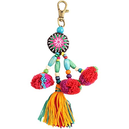Nowbetter Pompom-Quaste, Schlüsselanhänger, Faden, Perlen, Fransenanhänger, Schlüsselanhänger, Bälle, Auto-Tasche, Charm, Ornamente für Frauen und Mädchen – bunt