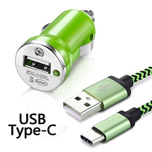 Karylax - Cargador de coche adaptador para encendedor de coche, cable USB tipo C, longitud 1 m, color verde para Samsung Galaxy A5 2017