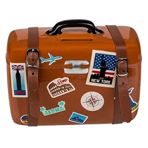 Bahia Vista Keramik Spardose - Reisekoffer für die Reisekasse/Urlaubskasse - 15 x 12 cm