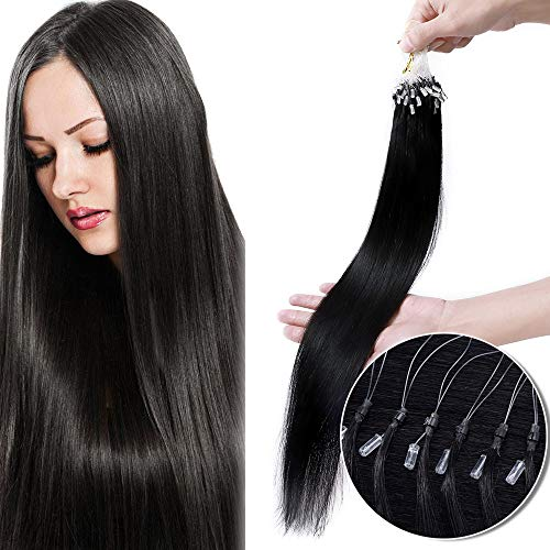 Extension Loops Cheveux a Froid Naturel Noir Rajout Micro Anneaux Cheveux Humain - Micro Ring Loop Remy Hair Extensions 100 Mèches 50g (#1 NOIR FONCE, 22 Pouce/55CM)