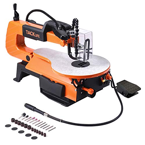 TACKLIFE Scroll Saw, 500-1700 SPM Variable Speed Scroll Saw with Flexible Shaft Grinder (31 Accessories), Foot Switch, LED, Air pump -TLSS01A