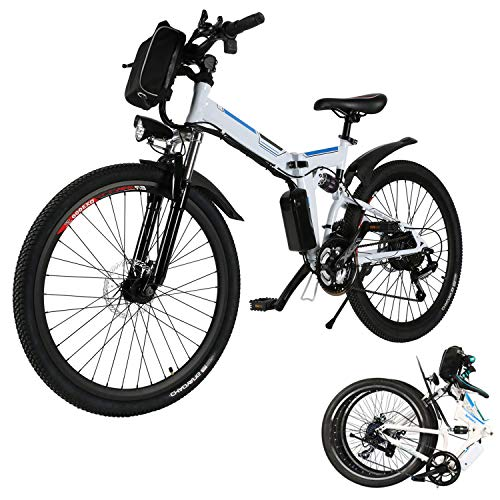 Aceshin 26'' Folding Electric Mountain Bike 250W Electric Bicycle with Removable Large Capacity Lithium-Ion Battery, Professional 21 Speed Gears (White)