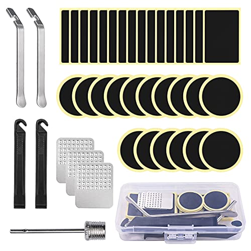 Popuppe - Kit de reparación para neumáticos de bicicleta, autoadhesivo, Ralladores, palancas, herramientas para cámara de aire de bicicleta de montaña y bicicleta de 41 piezas