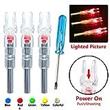 Deeabo Puntas de Flecha Luminosas, 3 Piezas de Tiro de Caza, Arco de Flecha de 6.2 mm Arco Iluminado LED Flecha Brillante Nock Tail, Rojo