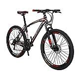 SD X1 Bicicleta de montaña para adultos 17 pulgadas marco de acero 27.5 pulgadas rueda freno disco 21 velocidad sistema de engranajes suspensión delantera MTB bicicleta (Muti habló rueda negra)
