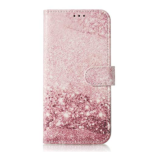 JZ P50 Pro Marble Wallet Funda For para Huawei P50 Pro Painted Flip Cover with Kickstand/Magnetic - Pink Beach