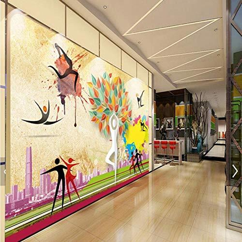 Imagen de Papel Tapiz de Calidad no Tejida en 3D Imagen Mural Decoración de Pared Arte HD Imprimir Sala de Estar Dormitorio Decoración Fina_Fitness Wallpaper_400Cm (W) X280Cm (H)