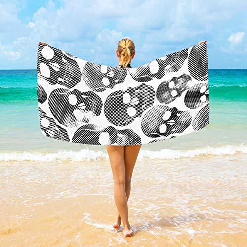 Jacklee Mikrofaser-Strandtücher schwarz weiß Totenköpfe groß Reisehandtuch Ultra saugstark, schnell trocknend Gym Handtuch für Herren, Frauen und Kinder