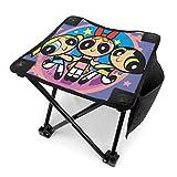 Grtswp The Powerpuff Mädchen-Campinghocker, zusammenklappbar, stabil, 4 Beine, für Outdoor, Wandern, Strand, Reisen, Angeln, Größe 30,5 cm