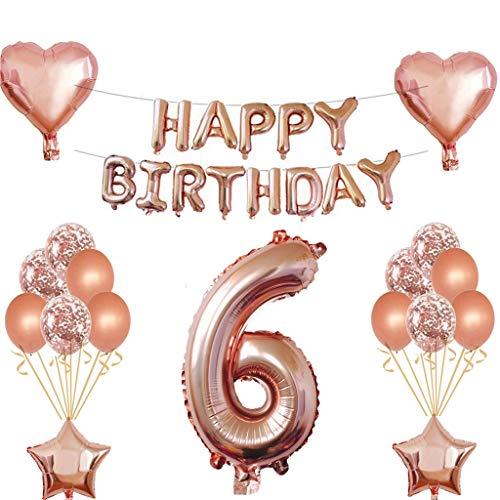 6 Geburtstag Mädchen Dekoration Rose Gold, 6. Geburtstag deko für Mädchen Jungen Happy Birthday Girlande Banner Folienballon Konfetti Luftballons Deko Geburtstag Party Anzahl Ballons