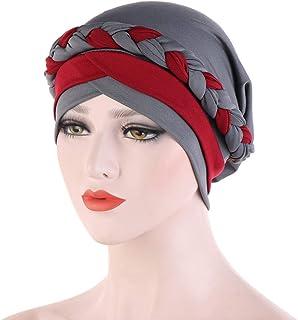 Afco Head Mold Dress up,Fashion Rainbow Color Leopard for Women Muslim Hijab Turban Head Wrap Hat Beanie Cap for Girl 1#